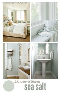 Sherwin Williams Sea Salt - the most perfect blue-gray neutral paint color! Sea Salt looks green in our lighting. Interior Paint Colors, Paint Colors For Home, Interior Design, Paint Colours, Coastal Paint Colors, Best Neutral Paint Colors, Paint Colors For Living Room, Interior Architecture, Style At Home