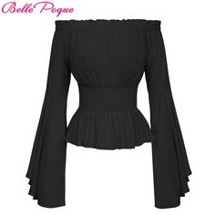 online shopping for Belle Poque Womens Renaissance Gothic Blouse Bell Sleeves Ruffle Off Shoulder Boho Corset Top from top store. See new offer for Belle Poque Womens Renaissance Gothic Blouse Bell Sleeves Ruffle Off Shoulder Boho Corset Top Victorian Blouse, Victorian Costume, Victorian Halloween, Off Shoulder Shirt, Off Shoulder Tops, Shoulder Sleeve, Bell Sleeve Shirt, Bell Sleeves, Bell Sleeve Top