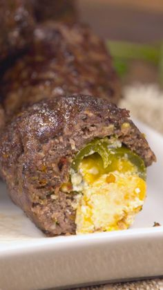 Recipe with video instructions: What's not to love about cheese-filled jalapeños wrapped in meaty deliciousness? Meatball Recipes, Meatloaf Recipes, Beef Recipes, Cooking Recipes, Beef Meals, Meat Appetizers, Appetizer Recipes, Hamburger Dishes, Jalapeno Recipes