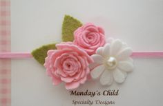 Felt Flower Headband in Pink Bouquet  Felt Baby por MyMondaysChild, $7,99