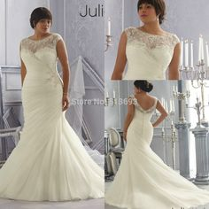 Discount Opulent Ivory/White with Crystal Beading and Appliques Organza Mermaid Plus Size Wedding Dresses 2015 with Sleeves-in Wedding Dresses from Weddings & Events on Aliexpress.com | Alibaba Group