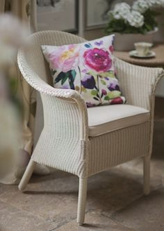Our lovely Lloyd loom chair, exclusive to uoi Furniture Repair, Wicker Furniture, Painted Furniture, Outdoor Furniture Sets, Upcycled Furniture, Vintage Furniture, Furniture Ideas, Conservatory Chairs, Burford Garden Company
