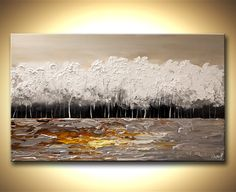 Original abstract art paintings by Osnat - white blooming trees painting modern palette knife
