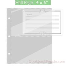 Half Page 4x6 Recipe Card Protectors for 3-Ring Binder 20ea
