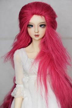 10in Long Hot Pink Wavy Tibetan Mohair Wig for Volks by natrume, $38.90