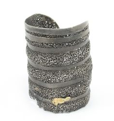 Cuff | Darcy Miro.  Oxidized silver, 18kt gold, black diamonds