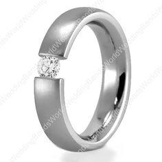 Diamond Wedding Ring in 950 Platinum, 4mm Wide, 0.12 Carat, Tension Setting Comfort Fit, PLT-DW9101