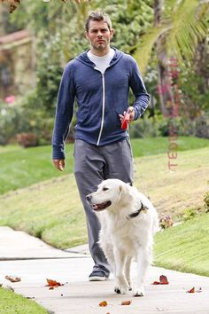 X-Men alumni James Marsden takes his doggie for a walk in Toluca Lake, CA. These two are absolutely adorable together! We love it!!!!!