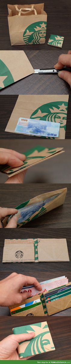 Turn a starbucks paper bag into a wallet
