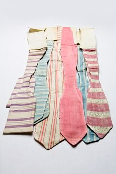 Collection of pastel cotton bow ties date from the early 20th century. Charleston Museum