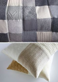 More recycled and felted sweater bedding. Fantastic!: