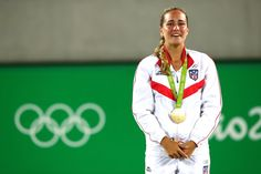 Monica Puig after winning the first Olimpics Gold Medal for Puerto Rico