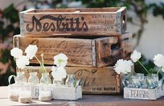 Love vintage/ rustic wooden crates