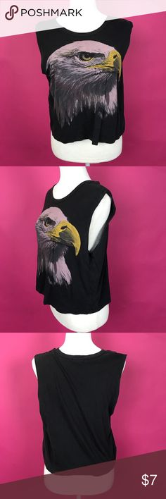 H81 F21 Vintage Style American Eagle Muscle Tank H81 by Forever 21 juniors vintage style Sleeveless muscle tank with an American eagle graphic. Forever 21 Tops Muscle Tees