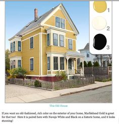 Toh Tv Cambridge House 2017 Owners Choosing An Exterior Color Winning Yellow Scheme Benjamin Moore S Marblehead Gold Navajo White And Black