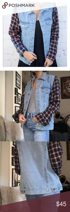 Brandy Melville Jean Jacket w Flannel Sleeves OS Great condition! Super cool jacket with flannel sleeves (light-medium wash). I always get so many compliments when wearing... Whoever gets this baby please keep good care of it it's one of my favs! Feel free to ask questions and submit reasonable offers Brandy Melville Jackets & Coats Jean Jackets