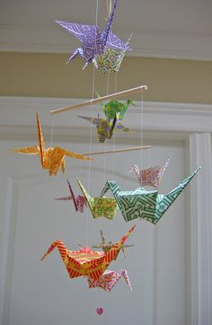 Origami Crane Mobile - Colourful Chiyogami Print Papers
