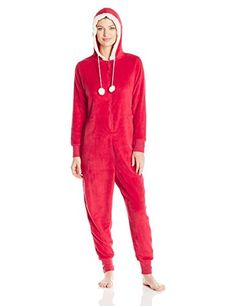Totally Pink Women's Plush Specialty Santa Onesie, Red, X-Small