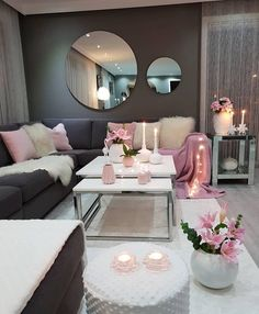 30 Incredibly Charming Pink Living Room Design Ideas - Home Bigger Romantic Living Room, Living Room Decor Cozy, Living Room Grey, Home Living Room, Living Room Designs, Bedroom Decor, Wall Decor, Blush Pink Living Room, Cozy Apartment Decor