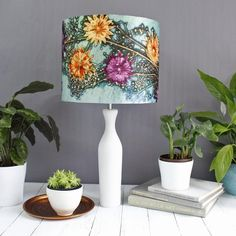 Branching Astrantia Floral Lampshade, Light Shade for Ceiling, Pendant Hanging Lampshade, Lamp Shade for Table Lamp, Green and Orange Lamp Hanging Lamp Shade, Drum Shade, Floral Lampshade, Orange Lamps, Studio Lamp, Glass Pendant Shades, Rectangular Lamp Shades, Ceiling Lamp Shades, Astrantia