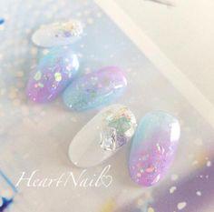 Beautiful nail art designs that are just too cute to resist. It's time to try out something new with your nail art. Nail Swag, Nails Metallic, Love Nails, Pretty Nails, Kawaii Nail Art, Korean Nails, Japanese Nail Art, Mermaid Nails, Heart Nails