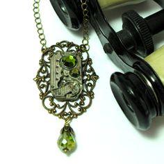 Olive Steampunk Filigree OOAK Necklace Watch Movement Swarovski Victorian Edwardian Designed By Mystic Pieces