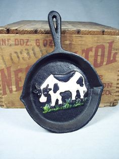 Decorative Cow Frying Pan. I told Josh we could have a cow kitchen lol (he loves cows lol... )