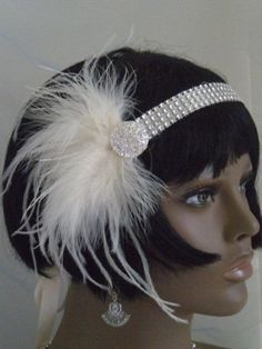 diy+1920s+headband | 1920's Headpiece, Flapper Headband, Gatsby, Ivory, Feathers , ... | D ...