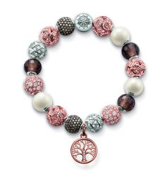 Thomas Sabo Karma beads bracelet with rose gold and pearl charms. Available at bertie browns Marcasite Jewelry, Sterling Silver Jewelry, Thomas Sabo, Women's Earrings, Silver Earrings, Bangle Bracelets, Bangles, Jewelry Collection, Jewelery