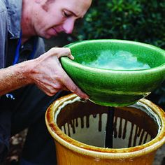 Step-by-step: build a soothing fountain. I really want to add one of these to my back patio :)