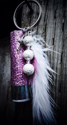 Glittered Pink Shotgun Shell Keychain by PeppermintPixieDust