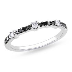 1/4 CT. T.W. Enhanced Black and White Diamond Station Band in 14K White Gold - Zales