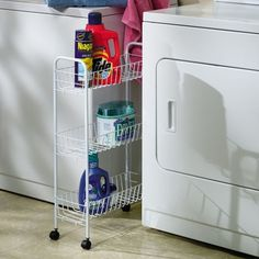 Features:  -Smooth rolling casters for easy mobility and stability.  -Holds standard size laundry bottles and boxes.  -Sturdy steel frame with 3 convenient storage baskets.  -Manufacturer provides 1 y