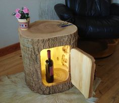 Beistelltisch Holzfass Baumstamm ausgehöhlt