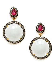 White Onyx Disc Drop Earrings by Amrapali on Gilt.com