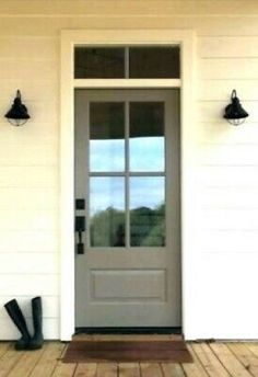 Terrific farmhouse front doors - see our brief article for a whole lot more ideas! Front Door With Screen, Glass Front Door, Side Door, Entry Doors With Glass, Cottage Front Doors, House Front Door, Front Porch, Entry Door With Sidelights, Fiberglass Entry Doors