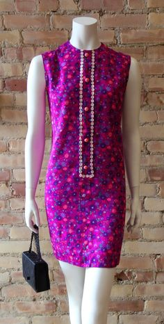 1960s Fuchsia Floral Shift Dress by Magwood.