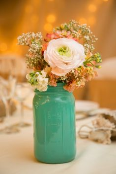 White Ranunculus and Baby's Breath Centerpieces | Drozian Photoworks