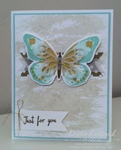 Gorgeous card and a fun color combo featuring the Watercolor Wings and Watercolor Wash stamp sets from #stampinup