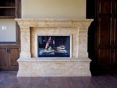 Custom Limestone Fireplace