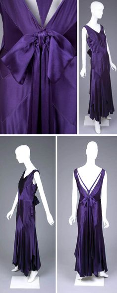 Evening dress, Jean Patou, ca. 1928-29. Purple silk satin sleeveless evening dress. Very low neck and back with silk bow trim. Made with many sections of bias-cut fabric. Inset belt. Goldstein Museum of Design, Univ. of Minnesota