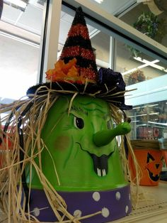clay pot witch by joan d at our turnersville nj store visit your local ac moore store to find more designer floral inspiration halloween decor
