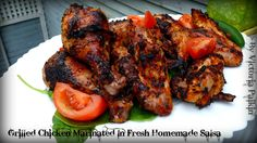 Grilled Chicken Marinated In Fresh Homemade Salsa is super amazing recipe to enjoy with your family and friends during annual summer BBQ. Marinated Chicken, Grilled Chicken, Tandoori Chicken, Homemade Salsa, Recipe Boards, Salsa Recipe, Summer Bbq, Poultry, Grilling