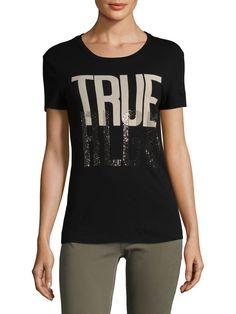 9513ee88a2e TRUE RELIGION WOMEN S HOT FIXX SLIM CREWNECK COTTON TEE - BLACK