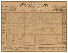 """McDonald County Missouri 1884 - Wall Map with Landowner Names - Reprint Farm Lines. This Missouri county wall map shows all the old roads, landowner and place names. Great for genealogists and history lovers. The reprint is made from the original on file at the Library of Congress. We offer this map reprint in different sizes (original is 43""""x 55""""). ***** Names will not be legible at the smaller sizes, but the map still makes an attractive wall display. Note the size of the original…"""