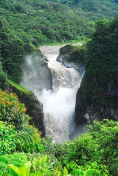 Cascada de San Rafael (Coca Falls) on the Napo River (tributary to the Amazon River), Ecuador