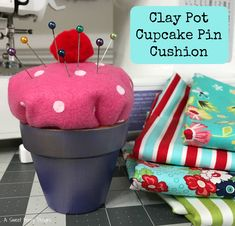 Clay Pot Cupcake PIn Cushion