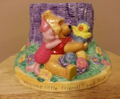 DISNEY'S WINNIE THE POOH & FRIENDS EEYORE FTD PLANTER/POT/VASE CHICK PIGLET #Disney