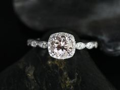 NEW Christie 2013 Collection 14kt White Gold Morganite Cushion Halo Engagement Ring (Other metals and stone options available). $795.00, via Etsy.