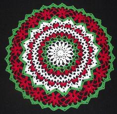 Christmas Crochet Santa Doily Free Crochet Patterns - Her Crochet Crochet Christmas Garland, Christmas Mandala, Colorful Christmas Tree, Christmas Crochet Patterns, Holiday Crochet, Free Crochet Doily Patterns, Crochet Earrings Pattern, Crochet Doilies, Hand Crochet